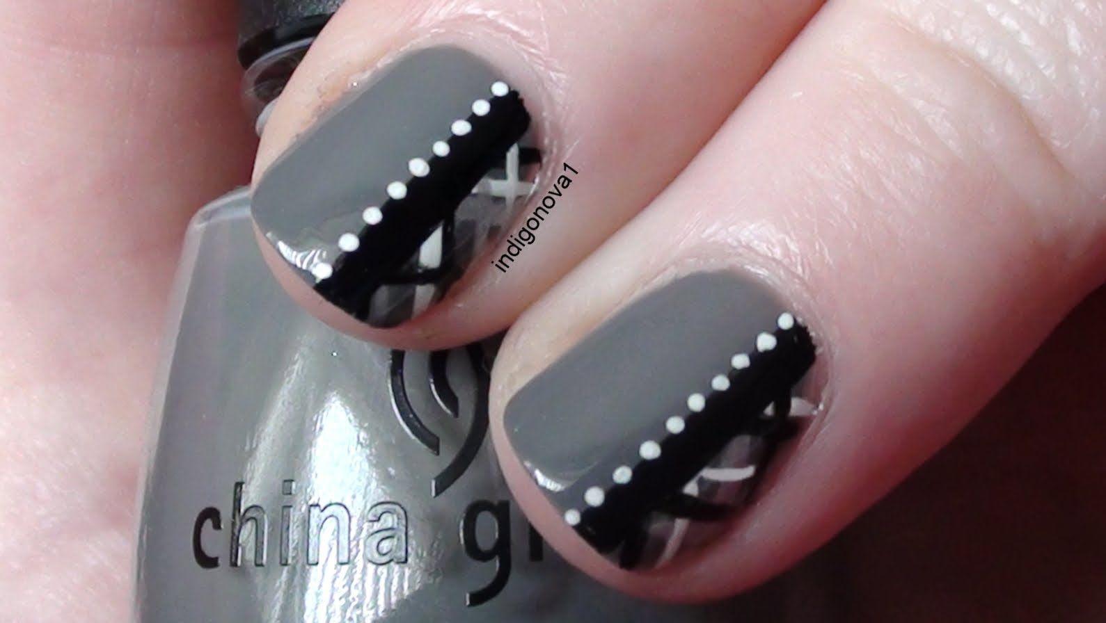 Chic grey plaid tartan nail art tutorial nailed it pinterest