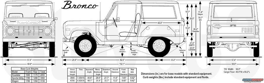 Dimensions Ford Bronco Bronco Classic Bronco