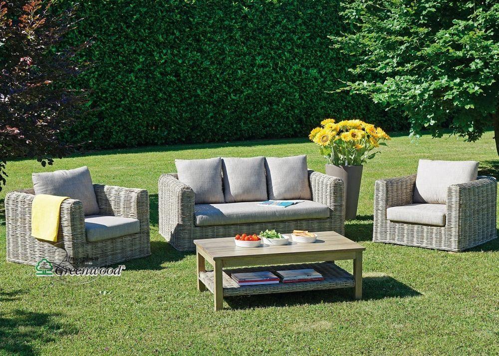 Set Salotto giardino 2 poltrone+1 divano 3 posti+1 tavolo rattan ...