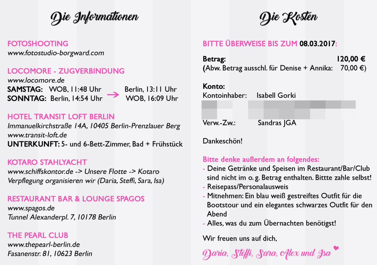 FREEBIE GIVEAWAY JGA Papeterie Bachelorette Party Einladung