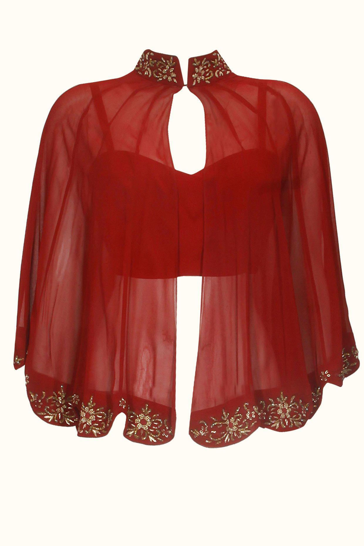 Designer shrug pattern on red blouse get it done at http for Designer bolero