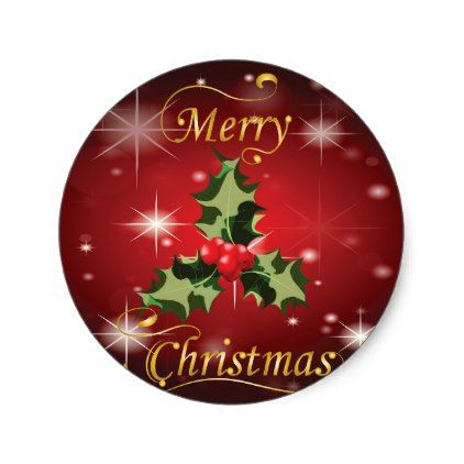 Holly and Berries Christmas Card Classic Round Sticker - red gifts