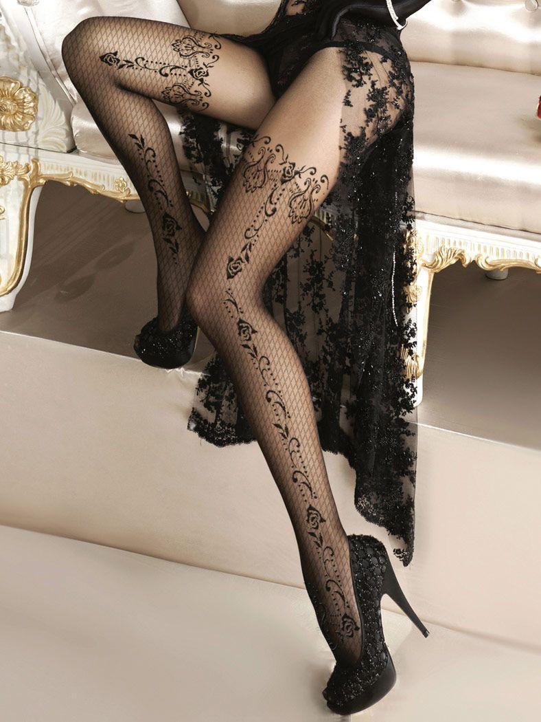 Collants noirs Alluria dentelle motif floral résille sexy burlesque ... e2afa4786a7