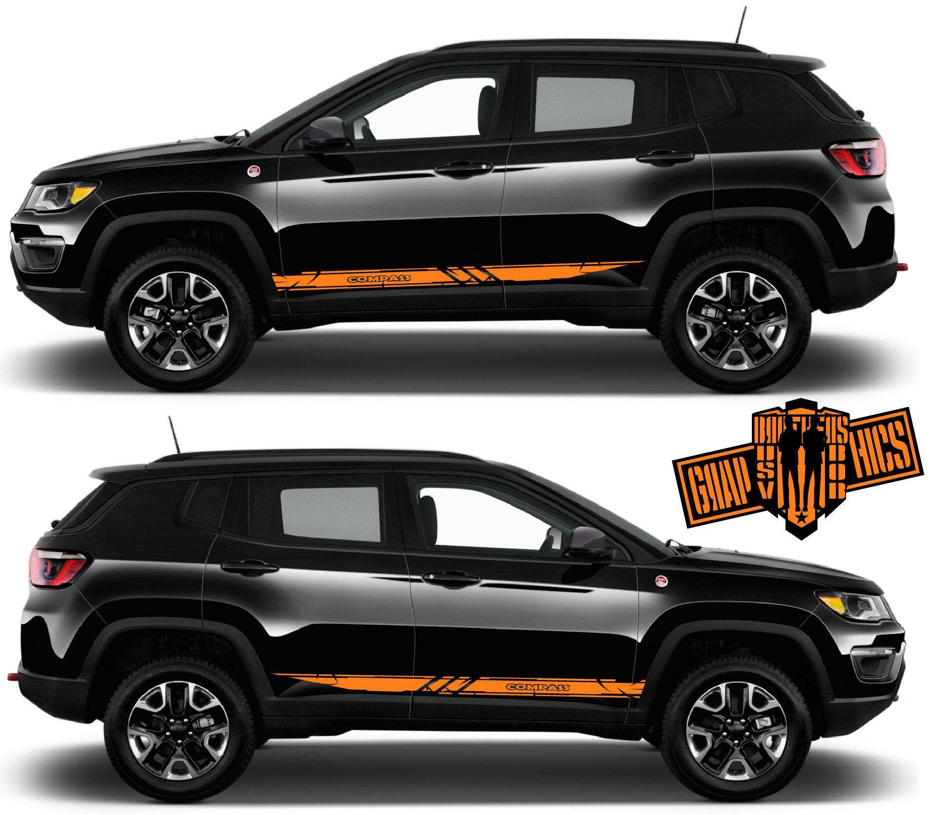 Side Door Stripe Custom Kit Stickers Set Kit For Jeep Compass