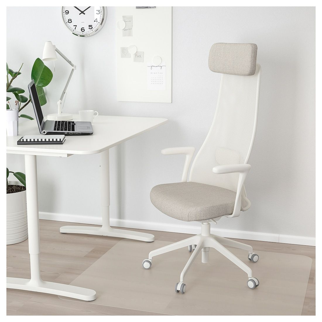 Ikea Chefsessel JÄrvfjÄllet Office Chair With Armrests, Gunnared Beige, White - Ikea | Office Chair, Chair, Ikea