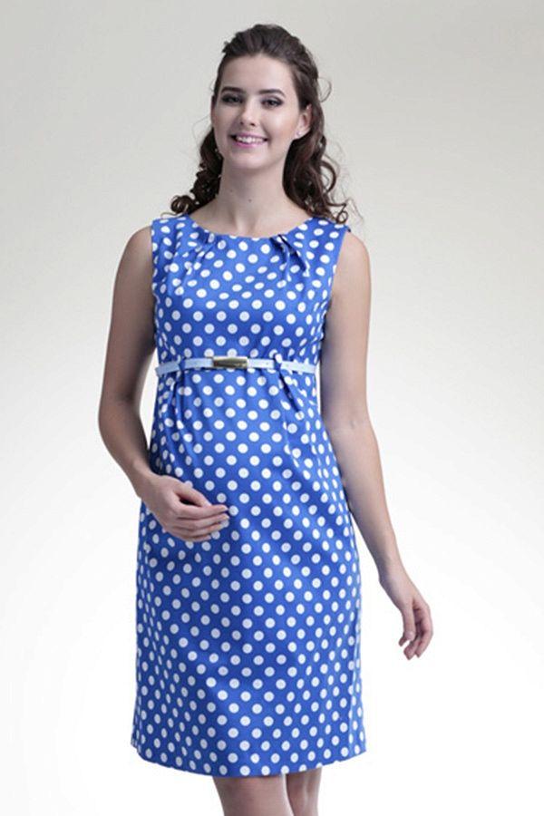 010c35b84be Modré těhotenské letní šaty s puntíky
