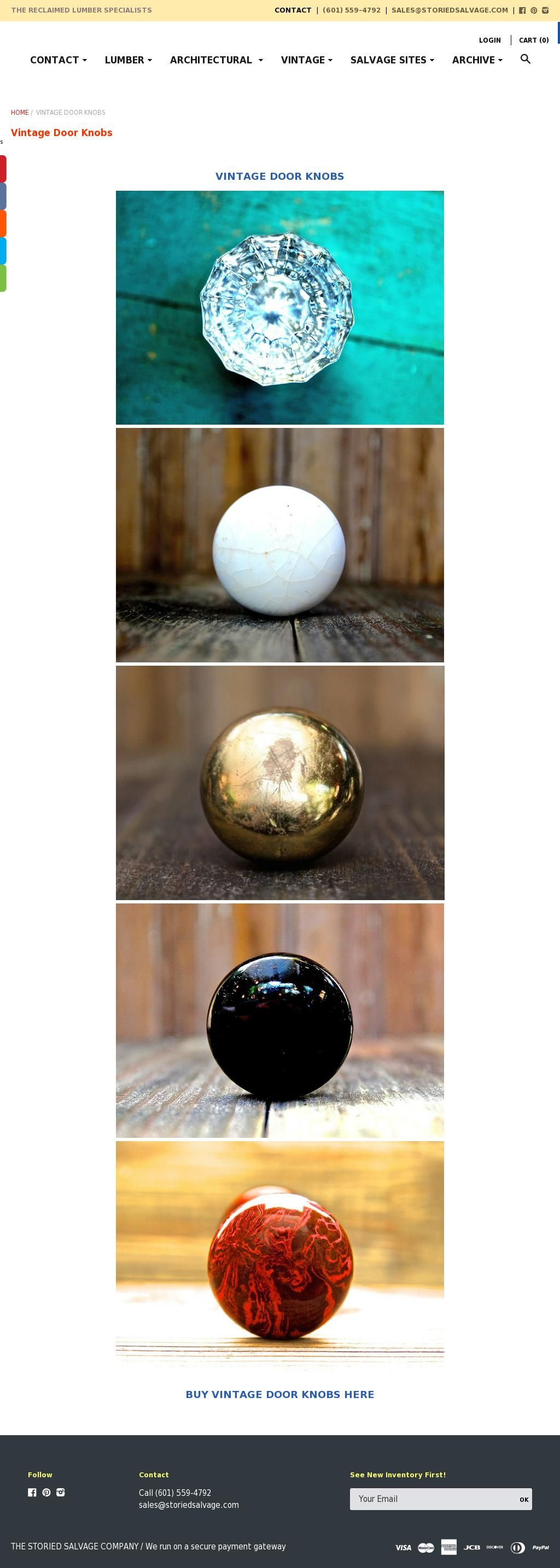 The most popular types of vintage door knobs. In order: 12 sided glass door knob, white porcelain door knob, brass plated door knob, black porcelain door knob, Bennington (Tiger's Eye) porcelain door knob. We also sell many other vintage knobs as well as other vintage hardware such as backplates, push plates and door hinges as well as vintage doors.