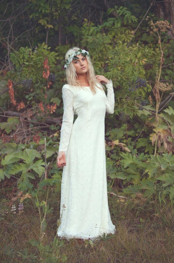 Vintage wedding dress backless ivory cream lace white long for Backless boho wedding dress