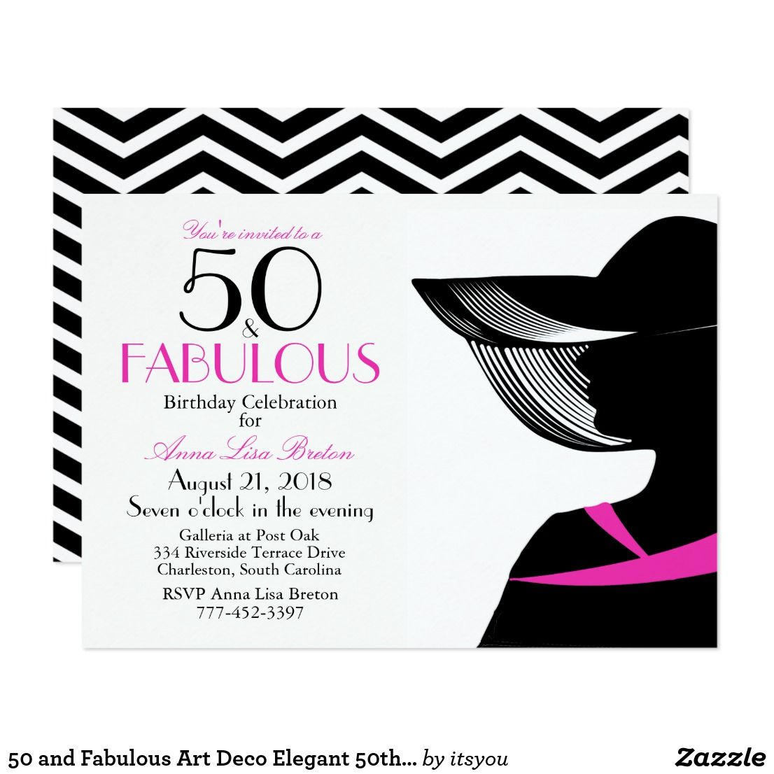 50 and Fabulous Art Deco Elegant 50th Birthday Card | 50th birthday ...