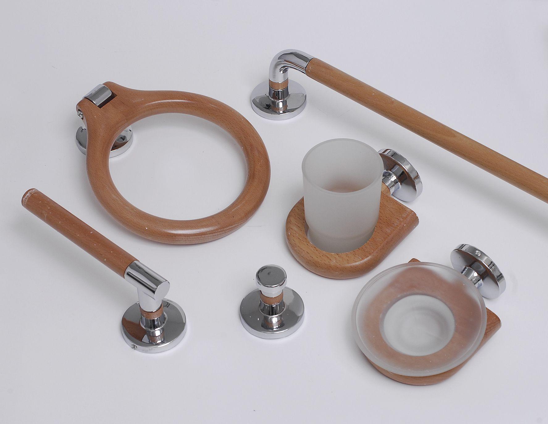 Set accesorios ba o madera 6pzs cod sam accesorios para for Set accesorios bano