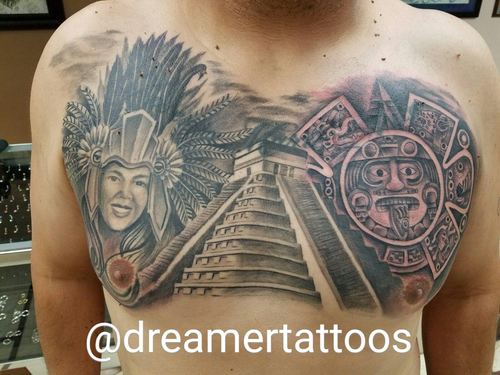 Aztec Portrait Pyramid Tattoo Chest Peice Aztec Pyramid Tattoo