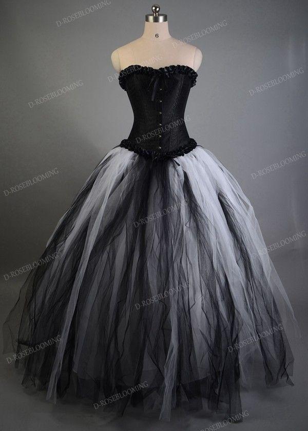b1a30e096b94 White Black Long Gothic Prom Dress D1034 in 2019 | DRB - Gothic ...