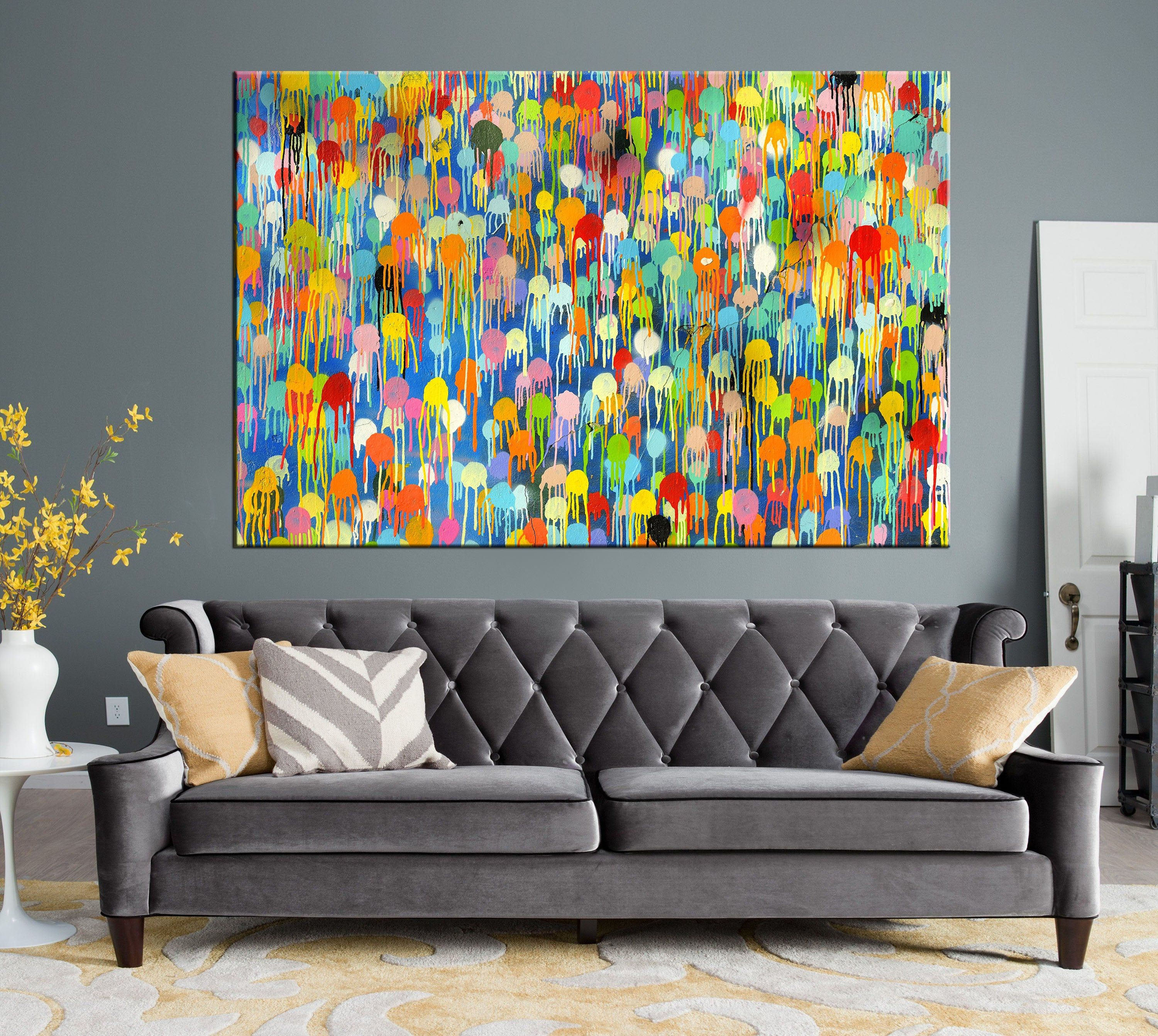 Coloured Rain Canvas Coloured Dots Wall Art Multicolor Etsy Multi Color Wall Art Colorful Wall Art Colorful Wall Art Canvas