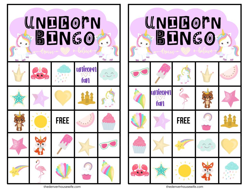 Free Printable Unicorn Bingo Card Printables Perfect For Unicorn Birthday Party Games Down Unicorn Printables Free Printable Bingo Cards Bingo Cards Printable
