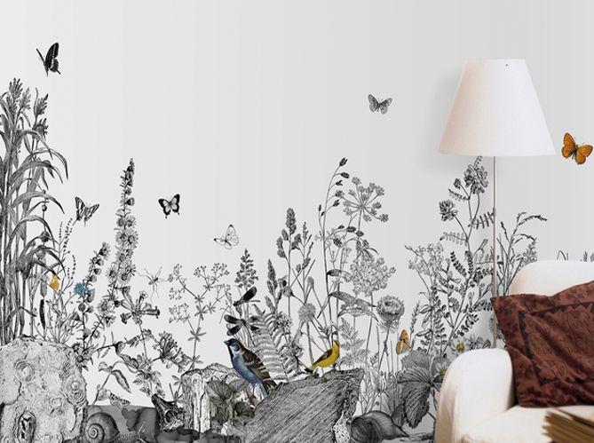 Un papier peint noir et blanc pour un mur l gant chambre scpv papier peint chambre papier - Dessin mural chambre fille ...