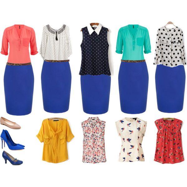 4555e31721b Outfits para ir a trabajar  Falda tubo azul