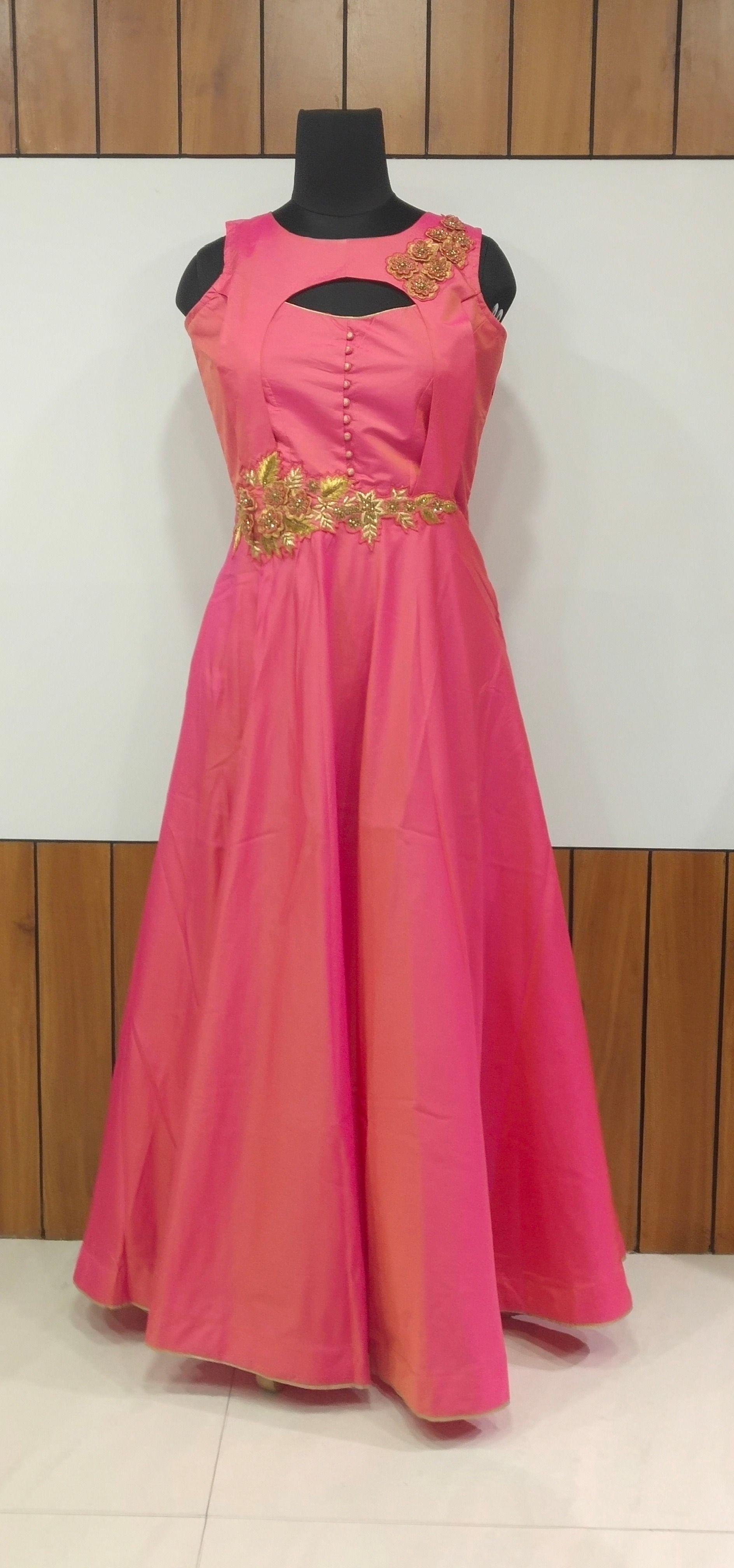 Siya Siyafashion Designer Pink Taffetasilk Handwork Gown One Piece Gown Simple Gowns Fashion Design