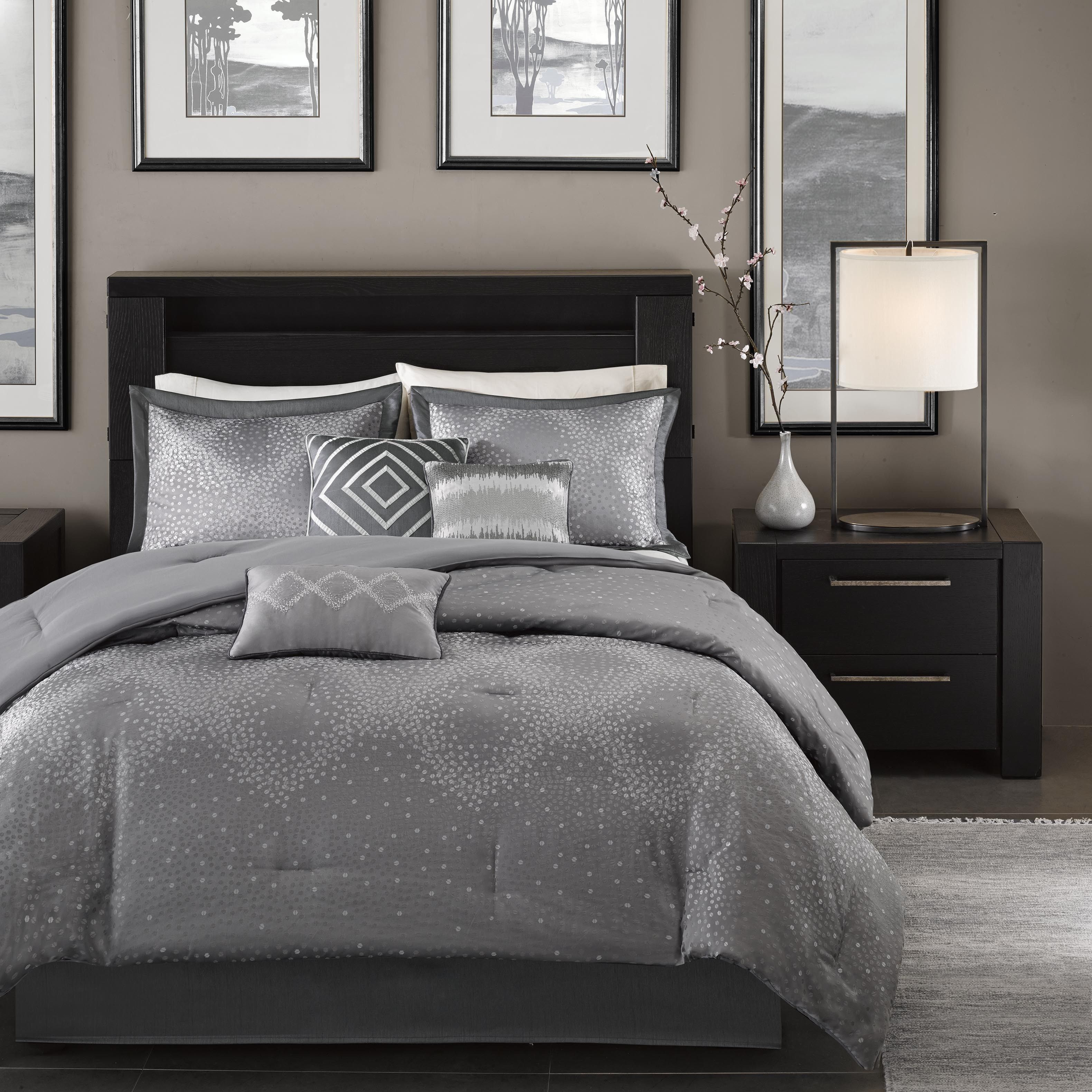 contemporary king comforter sets For a modern twist to sequins, the Madison Park Crawford comforter  contemporary king comforter sets