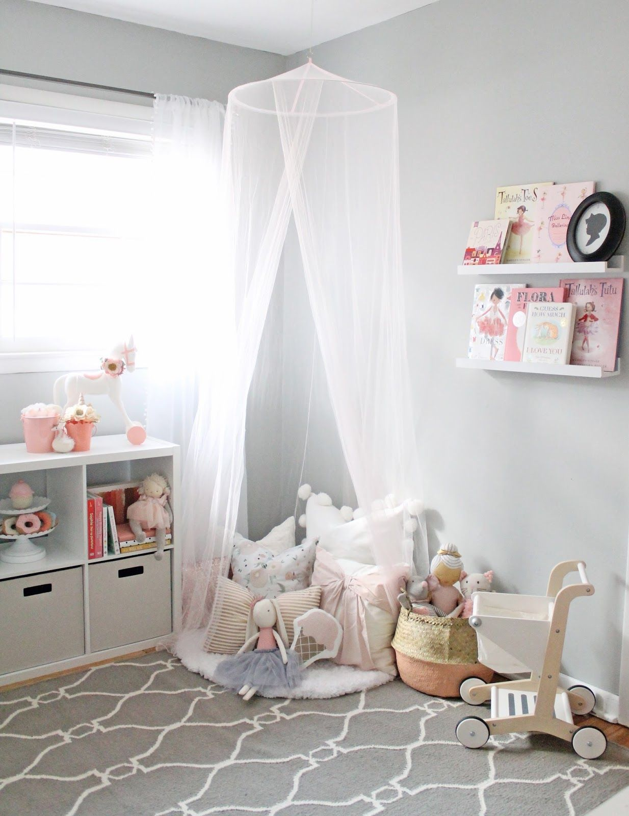 Kids playroom canopy - A Dreamy Little Girl Playroom With Lots Of Storage Pretty Blush Details And Tons Of