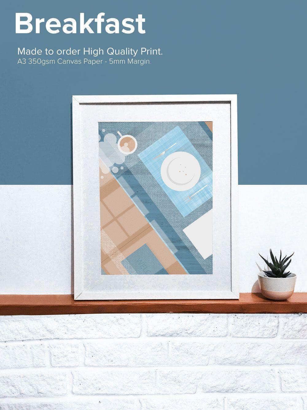 Geometric print illustration blue and brown print home decor art