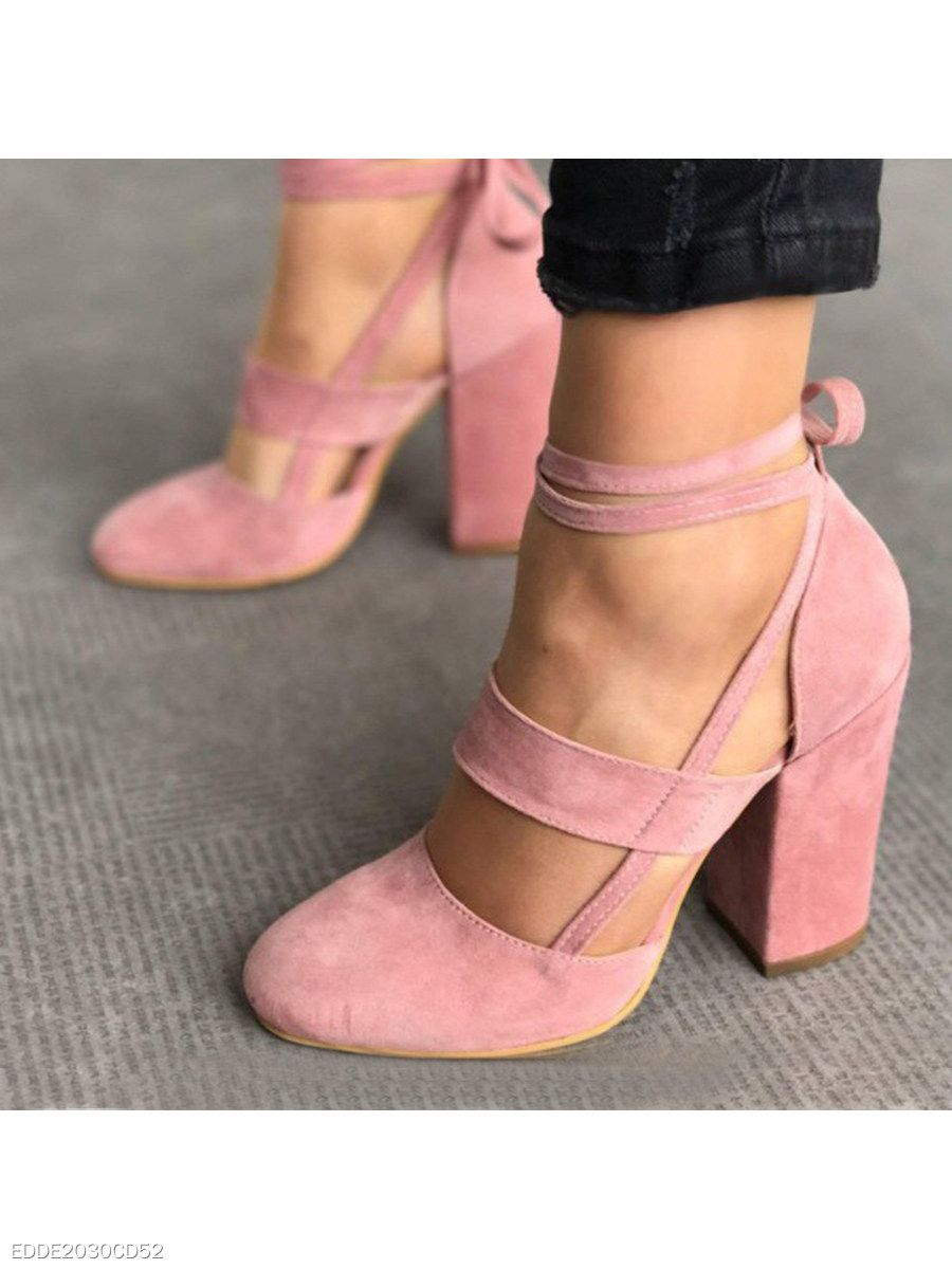 b94aa7d0126 Plain Chunky High Heeled Velvet Ankle Strap Round Toe Date Event Pumps -  berrylook.com