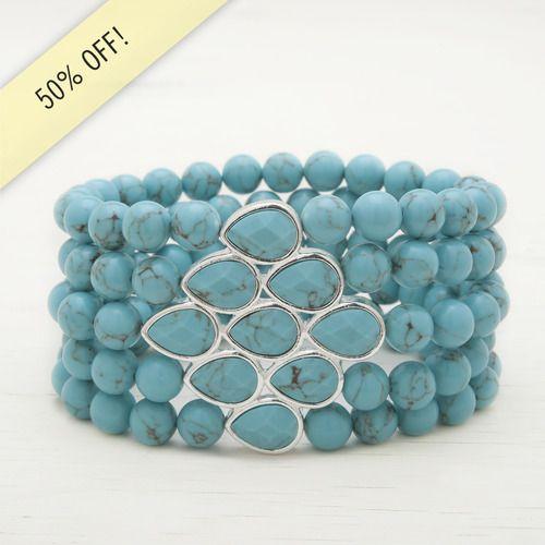 SALE- $21  Semi Precious Stretch Bracelet   https://www.chloeandisabel.com/boutique/melissaleski