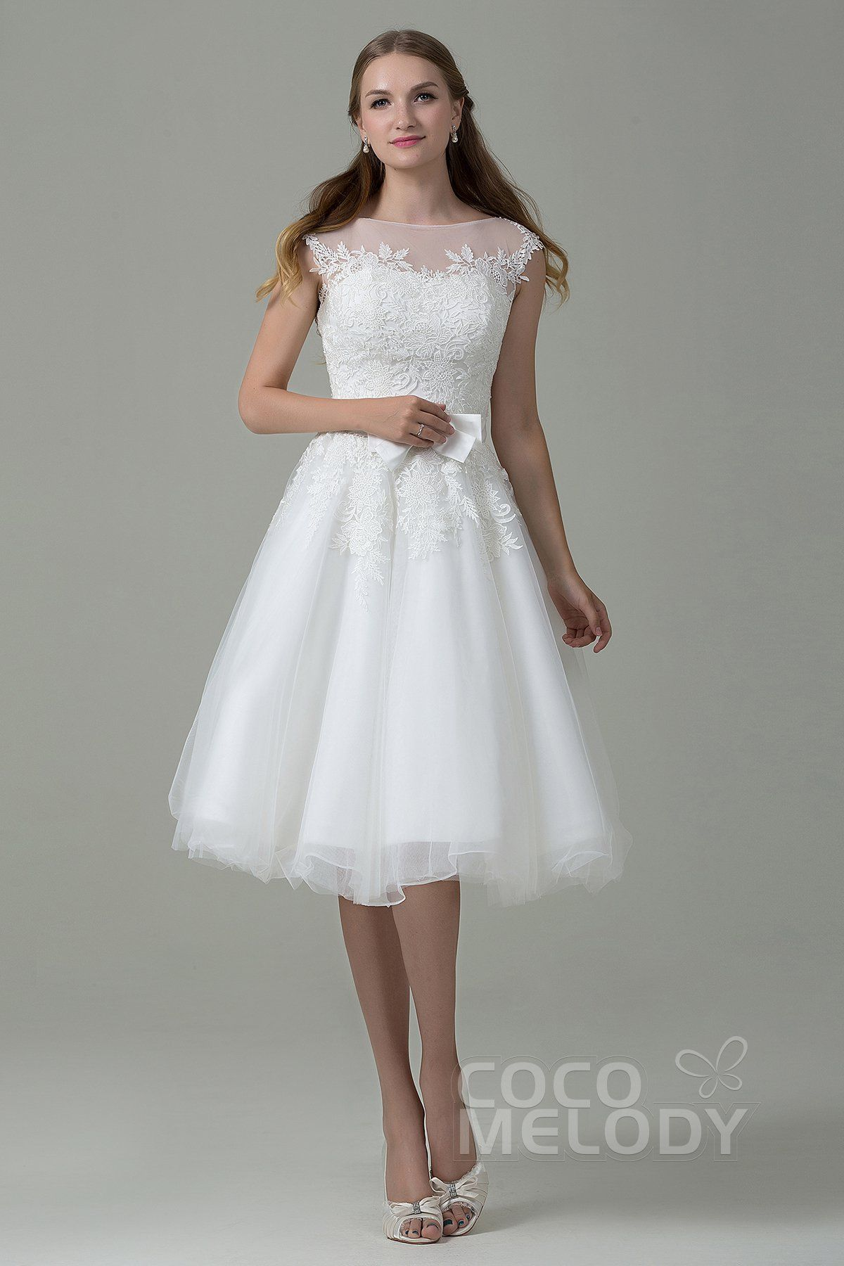 Lace dresses for wedding reception  Sweet ALine Illusion Natural Knee Length Tulle and Lace Ivory