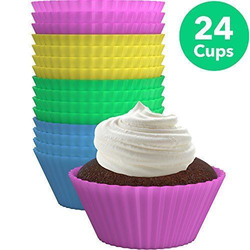 Chefaith 24 Pcs Reusable Silicone Baking Cups Cupcake Liners