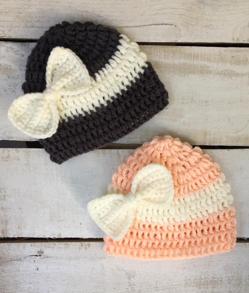CUSTOM ORDER: {Linda} Crochet Bow Hats *Can Be Made In Any Size/Color(s)*