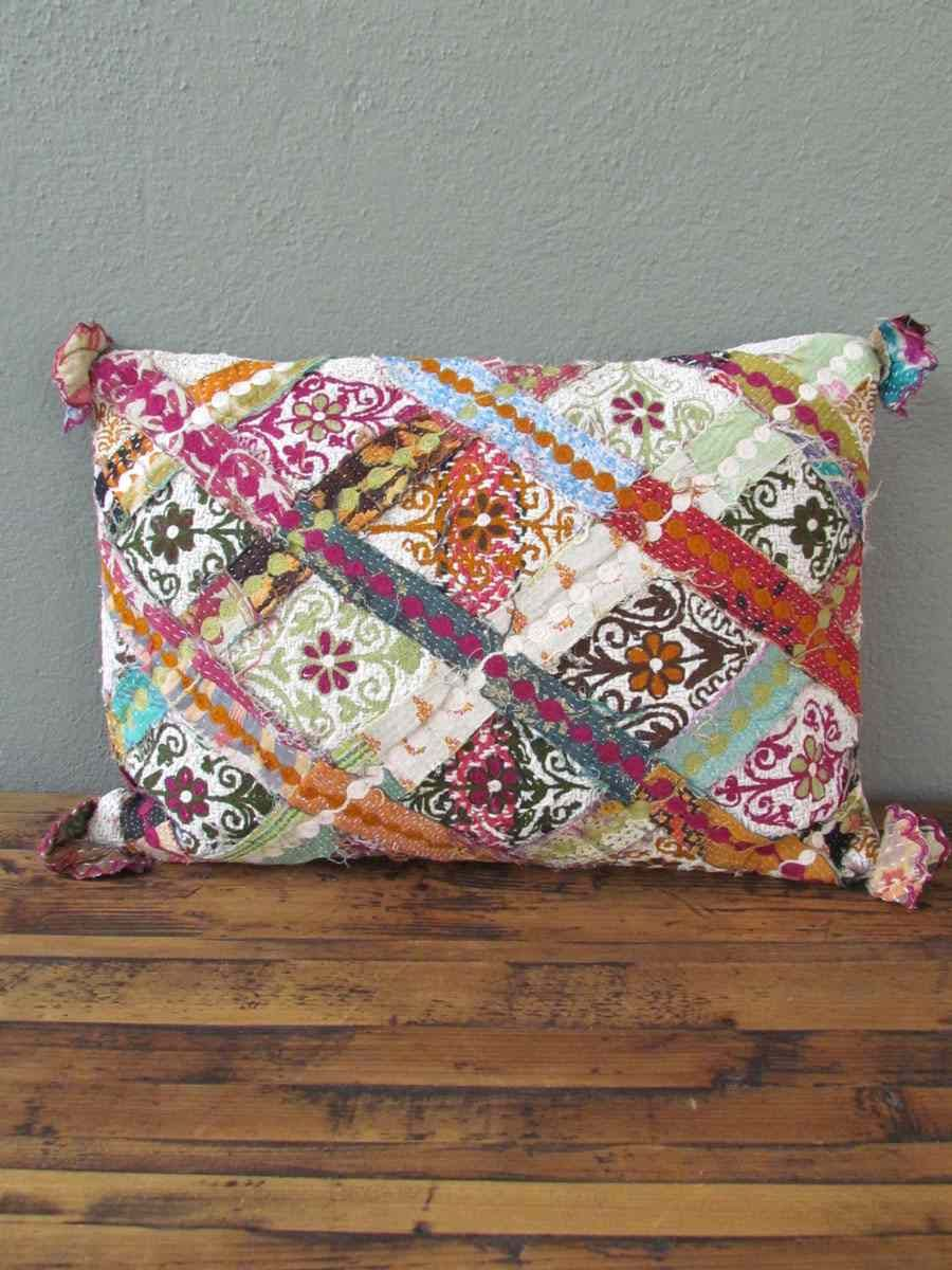 Kantha applique this is a party in a pillow for the home
