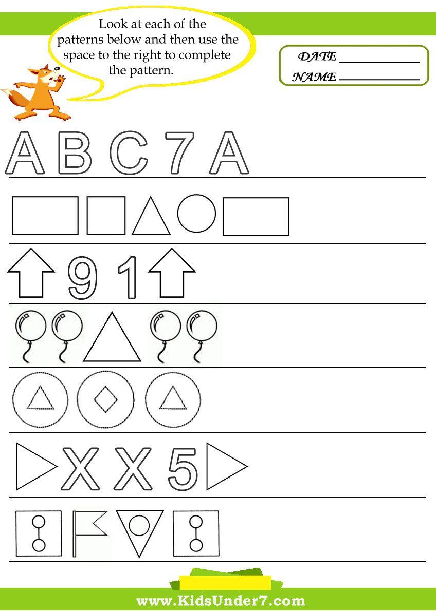 Kids Under 7 Pattern Recognition Worksheets School Smarts