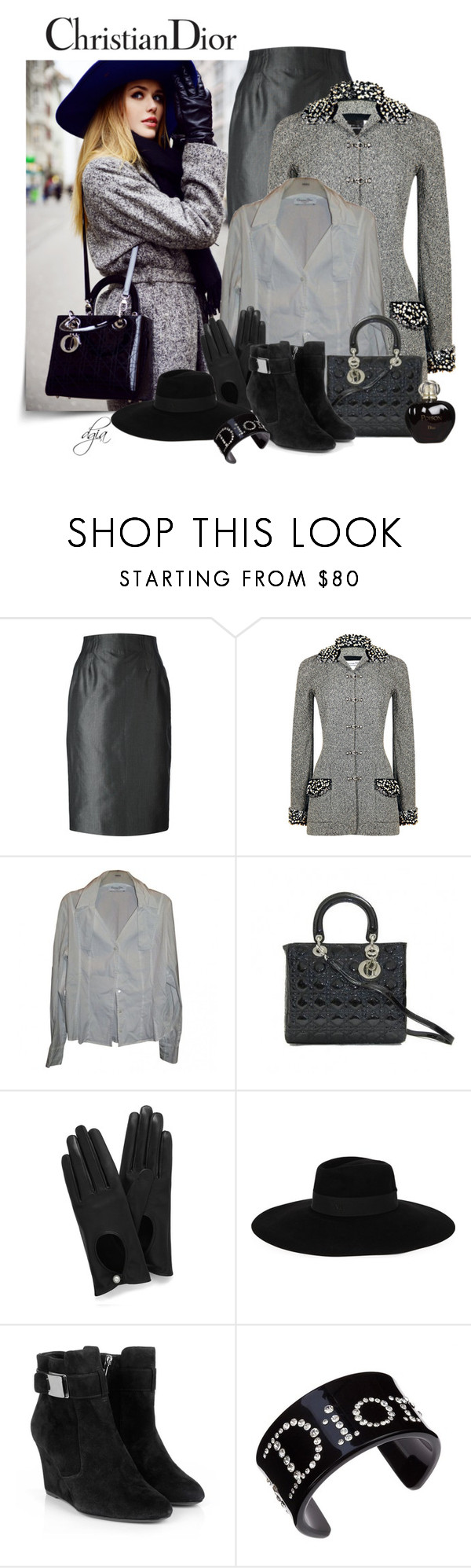 """Christian Dior"" by dgia ❤ liked on Polyvore featuring Christian Dior, Mulberry and Maison Michel"