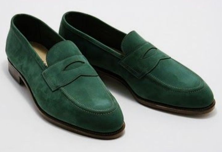 Handmade Mens Suede Green Casual Party Loafer Shoes