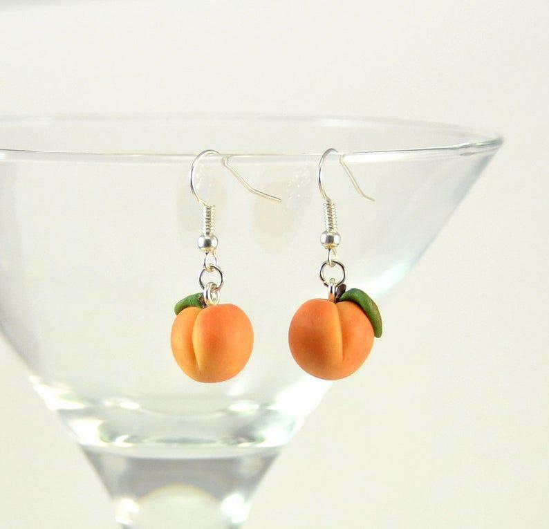 Peach earrings Polymer clay jewelry Fruit earrings Handmade small fruit earrings
