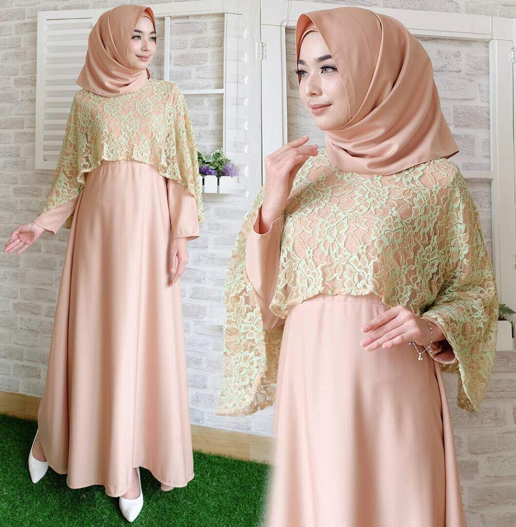 Gamis Pesta Brokat Kombinasi Satin  Model pakaian hijab, Model