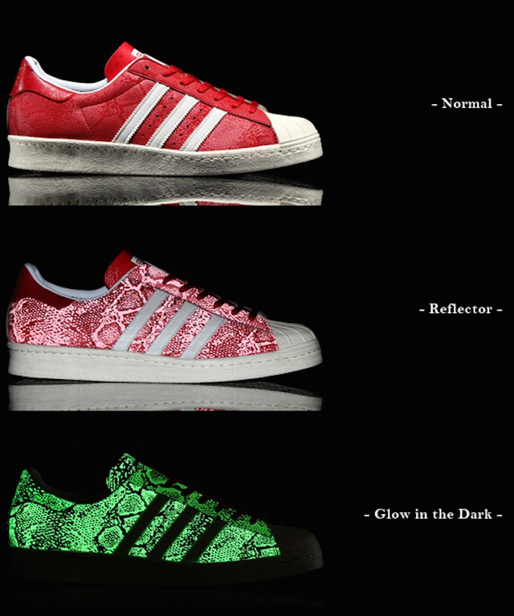 adidas Superstar 80s Glow in the Dark/Reflective Red Snakeskin