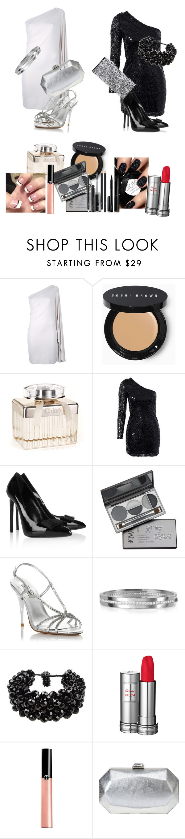 """black and white"" by jenn-morehart ❤ liked on Polyvore featuring Etiquette, Maison Margiela, Bobbi Brown Cosmetics, Free People, Oneness, Yves Saint Laurent, DuWop, Dune, Rebecca and NUR"