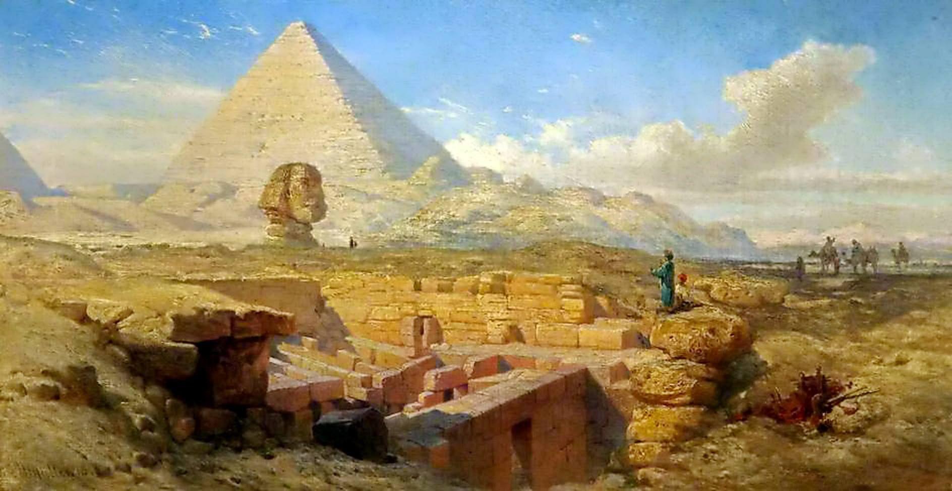 Pyramids 1843 William James Ller - British 1812 1845 Oil Canvas 35.5 X 78.7 Cm