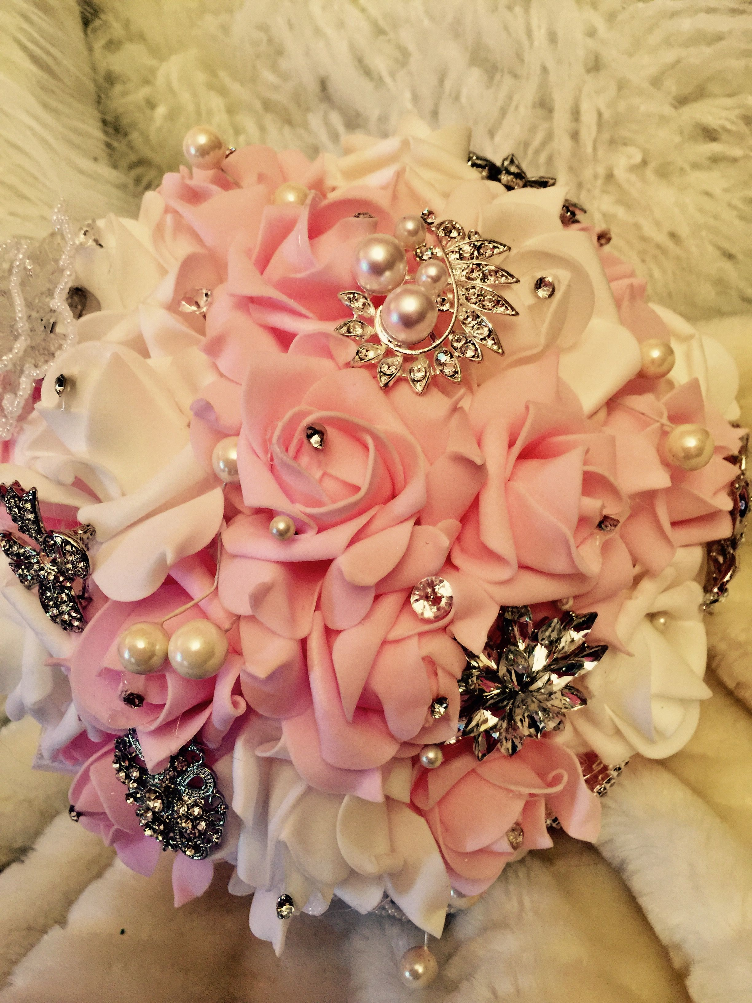 Brooch Bouquet With Real Touch Flowers In Pink And White Adorned
