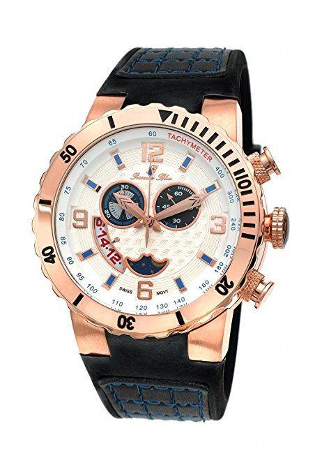 porsamo Bleu Vegas con tono de la rosa de silicona de en la parte superior y negro de piel auténtica azul Accent 114blvr-Reloj para hombre-PREFERIDO-
