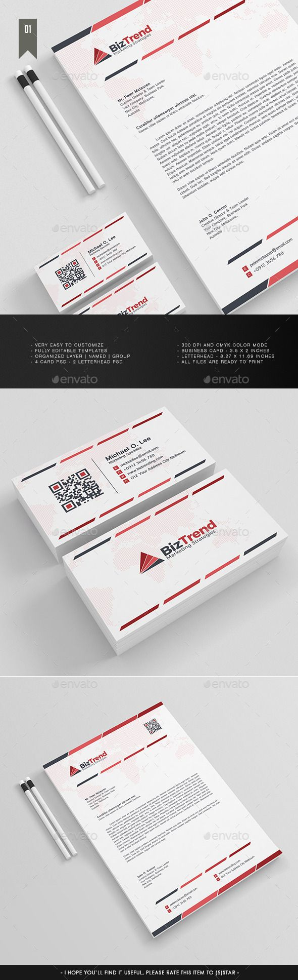 Letterhead & Business Card V.1 | Business cards, Stationery printing ...
