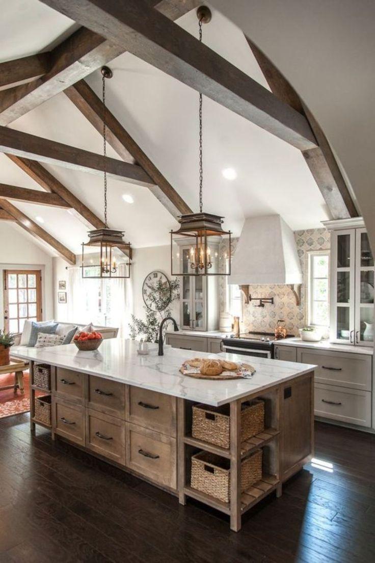 Farmhouse beams in this open concept kitchen | housing | Pinterest