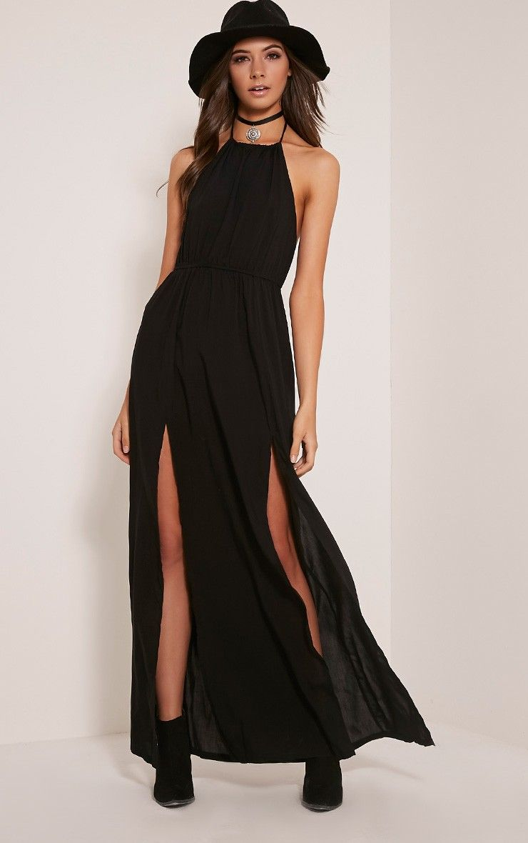 Rochelle Black Halterneck Split Front Maxi Dress prettylittlething.com