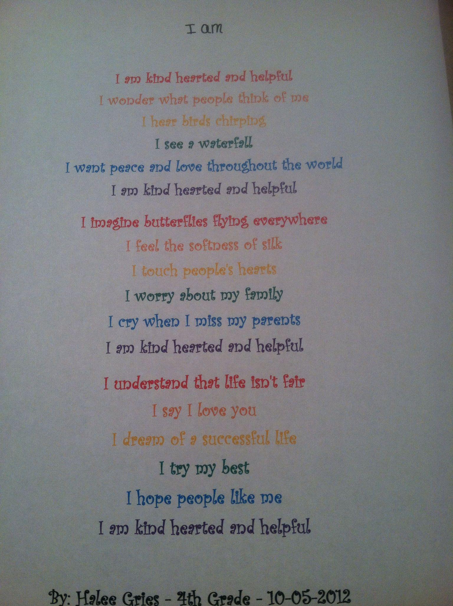 Halee S 4th Grade Poem So Adorable