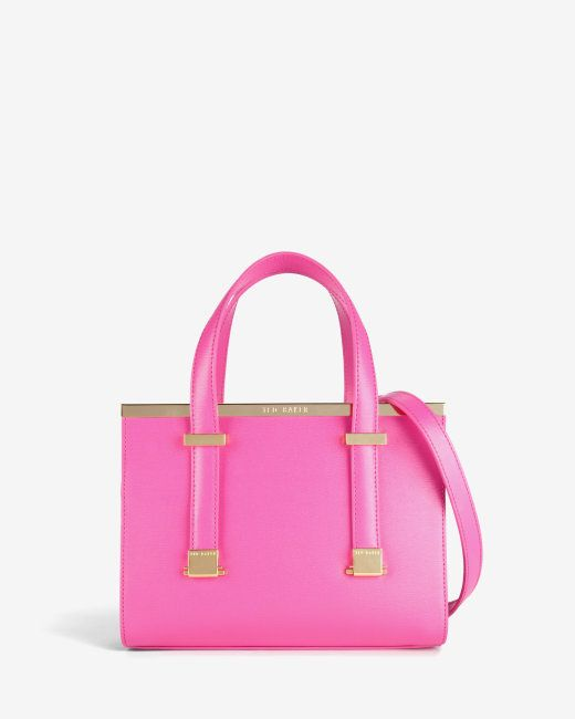 Small Crosshatch Leather Tote Bag Bright Pink Bags Ted Baker