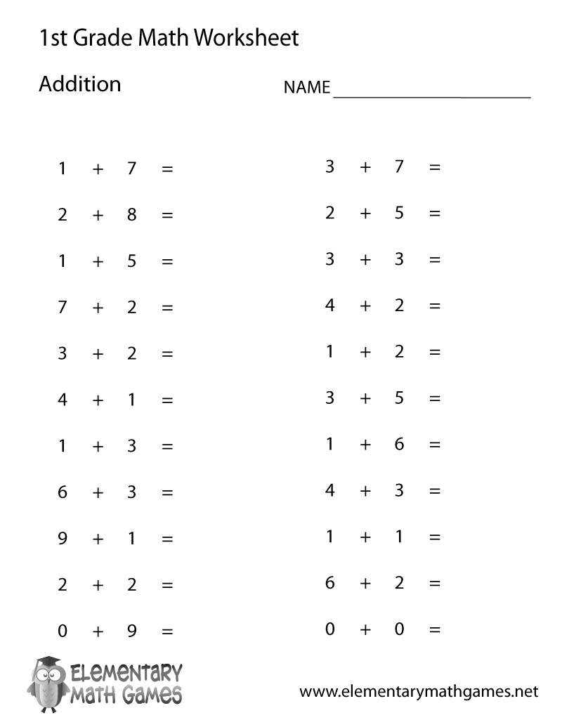 First Grade Simple Addition Worksheet Printable Homeschool