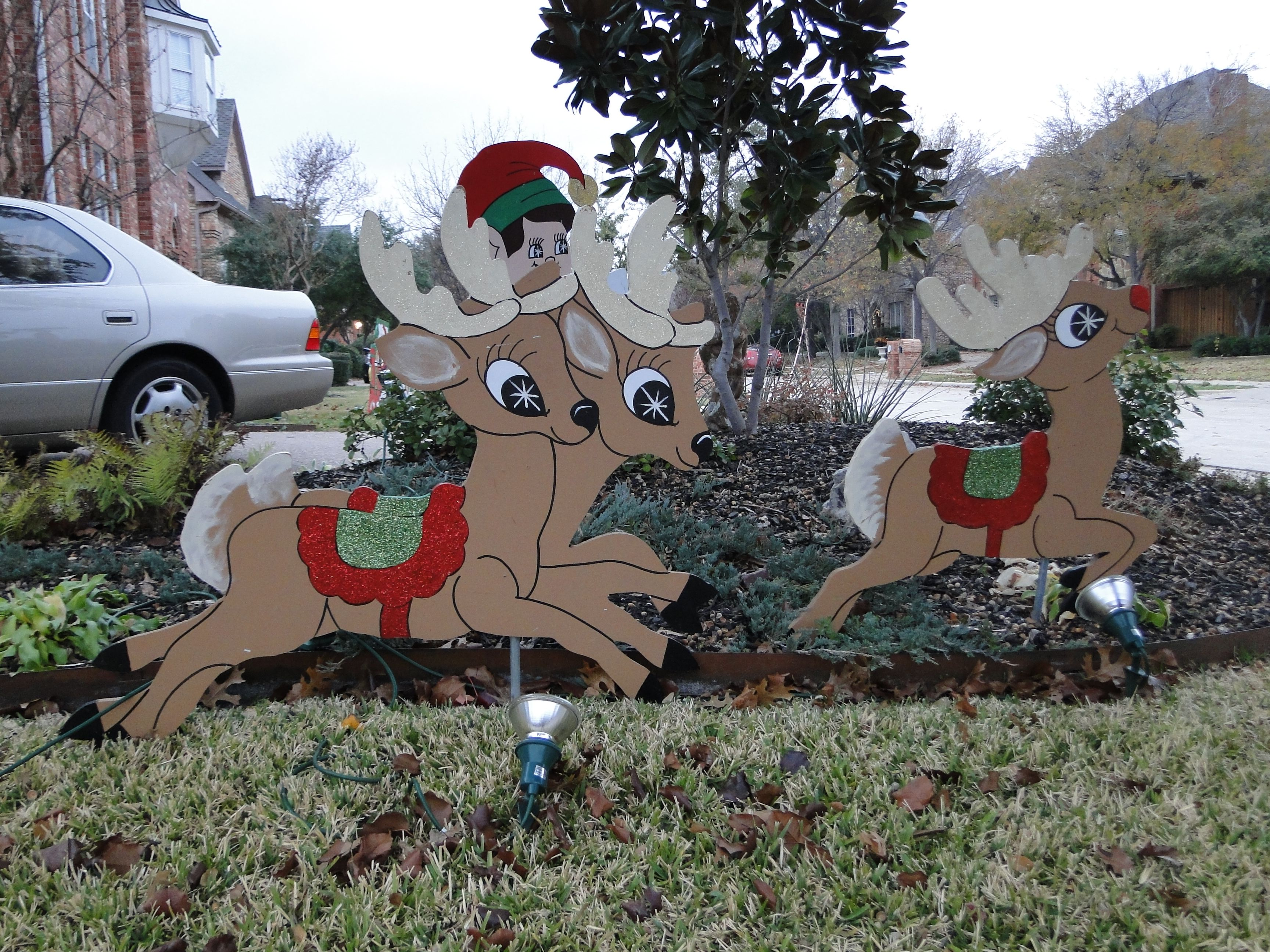 Wooden lawn decorations - Dig Wooden Christmas Reindeer Woodcraft Christmas Yard Decorationschristmas