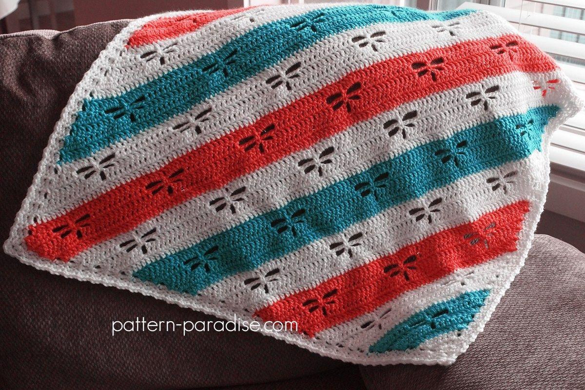 Free Crochet Pattern: Dragonfly C2C Throw | Pinterest | Manta ...