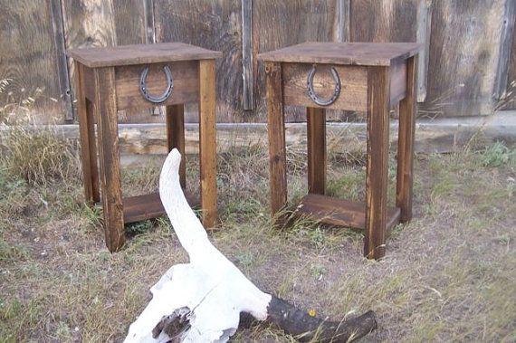 Rustic Western End Table With Horse Shoe Accent By