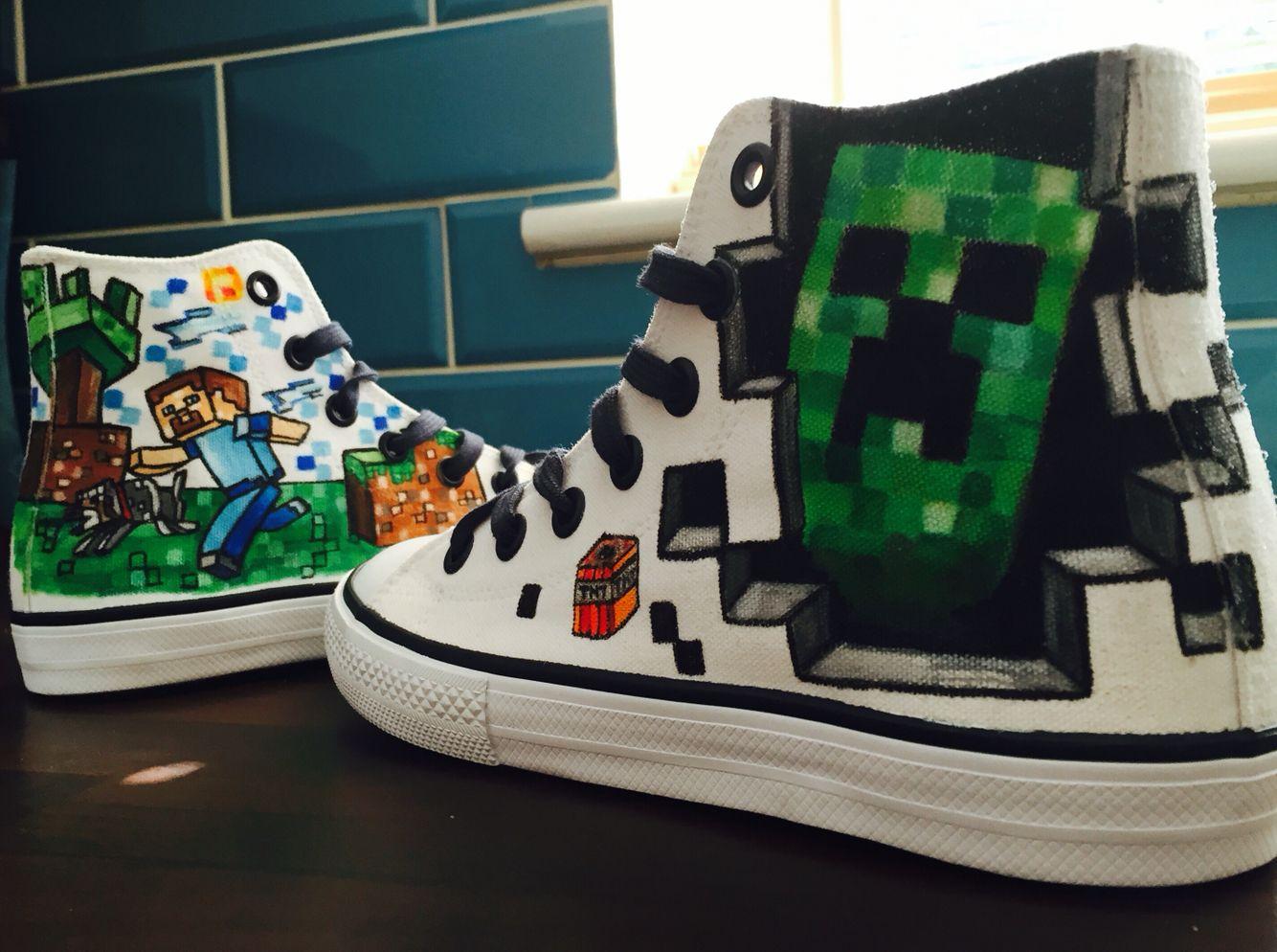 populair kopen goedkoop voor korting veel stijlen Custom Minecraft converse! Www.facebook.com/ConArtistirl ...
